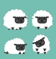 cute black little sheep set vector image