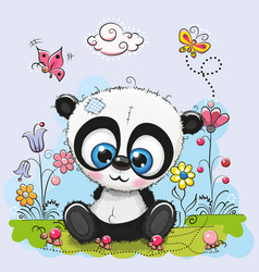 Cute cartoon panda with flowers and butterflies vector