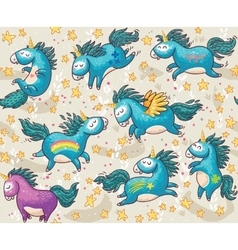 Cute seamless pattern with unicorns in the sky vector image