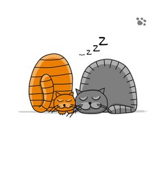 cute sleeping cats sketch for your design vector image