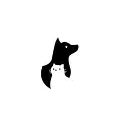 Dog and cat on negative space logo icon vector