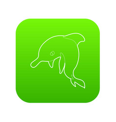 dolphin icon green vector image