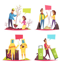 eco volunteering cartoon design concept vector image