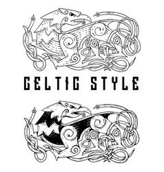 Fantastic beast in celtic style idea vector