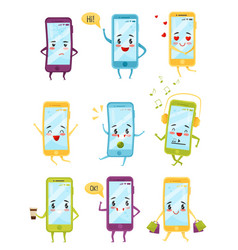 Flat set of smartphones with different vector
