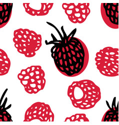 food collection fresh raspberries seamless pattern vector image