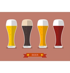Four glasses of different beers icon vector image