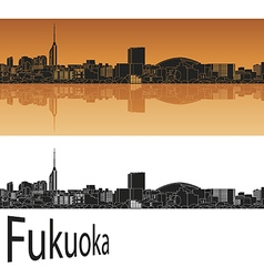 Fukuoka skyline in orange vector image