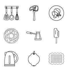 Galley icons set outline style vector