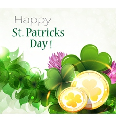 Gold coins with clover vector