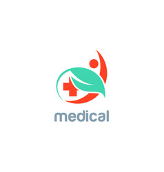 Green leaf medic people logo vector