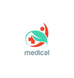 green leaf medic people logo vector image