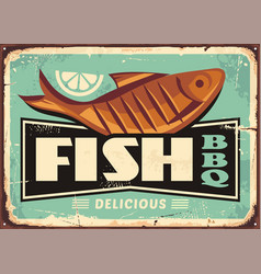 grilled fish and lemon slice vintage sign vector image