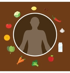 healthy body nutrition food vitamin eating vector image