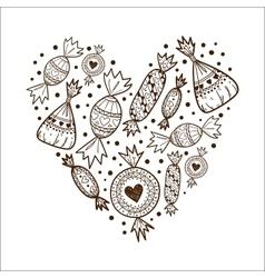 Heart of sweet candies vector image