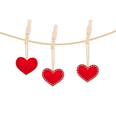 hearts clothespins 13 vector image
