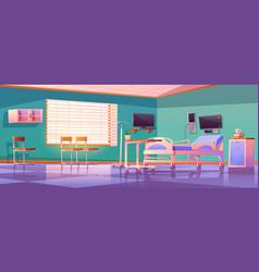 Hospital ward interior with adjustable bed vector