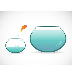 Image an fish jumping out aquarium vector