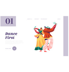 indian dancer performing on festival landing page vector image