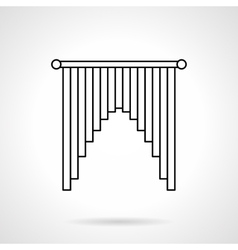 Interior curtains flat line icon vector image