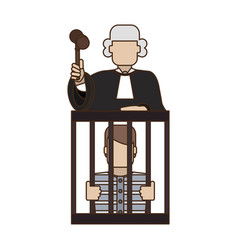 judge on prisoner in jail vector image