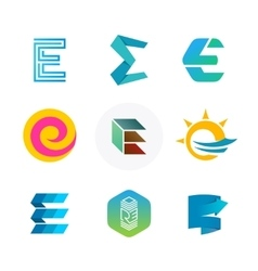 Letter E logo set Color icon templates design vector