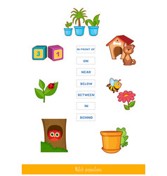 Match prepositions with pictures vector