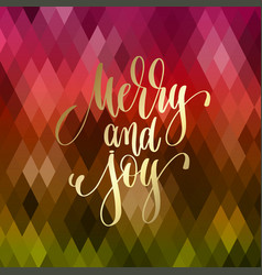 merry and joy - golden hand lettering quote to vector image