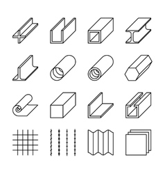Metallurgy products line icons vector image