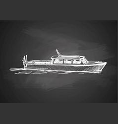 Motor boat on blackboard vector