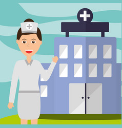 nurse staff professional hospital building vector image