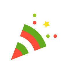 Party popper christmas related flat style icon vector