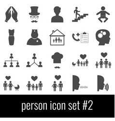 Person icon set 2 gray icons on white background vector