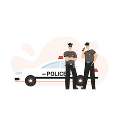 police officers in uniform handcuffs standing vector image