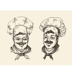 Portrait of happy chef Element for design menu vector