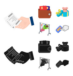 purse with credit cards and other web icon in vector image
