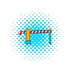 Railway barrier icon comics style vector image