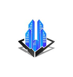 real estate logo concept building logo in three vector image