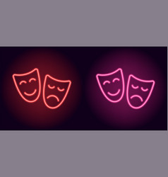 Red and pink neon mask vector