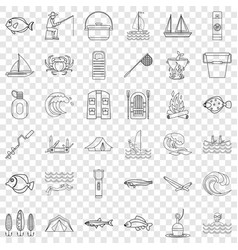 River icons set outline style vector