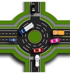 Road infographics top view 3d road interchange vector