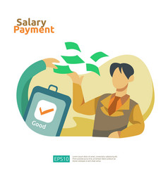 Salary payment and payroll concept for annual vector