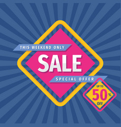 sale promotion banner design discount up to 50 pe vector image