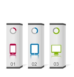 Set boxes with simple gadgets infographic icons vector image