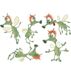 Set of green Insects cartoons vector image