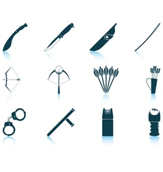 Set of weapon icons vector