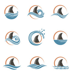 Shark fin icons vector