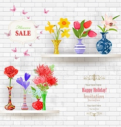 shelves on a wall of white brick with lovely vector image