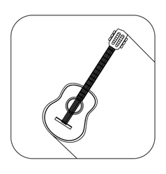 square shape with silhouette acoustic guitar vector image