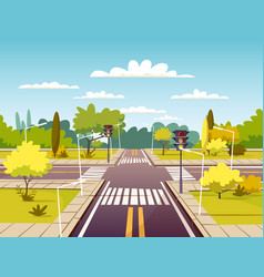 street crossroad cartoon of vector image